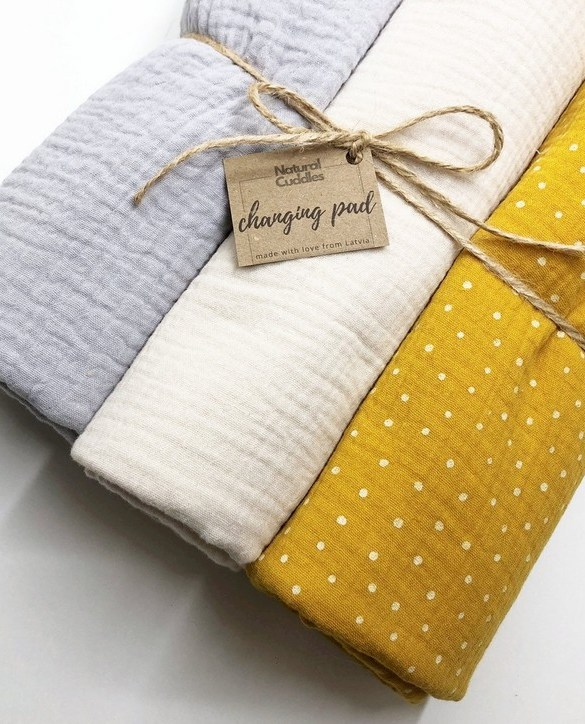 Super soft, and wipeable, the Set of 3 Yellow Changing Pads is a perfect gift for any new mum. This handmade muslin cotton and the waterproof terry changing pad is must-have for any baby from 0-36 months.