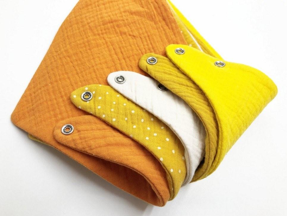 Set of 5 Yellow Dot Baby Bandana Bibs