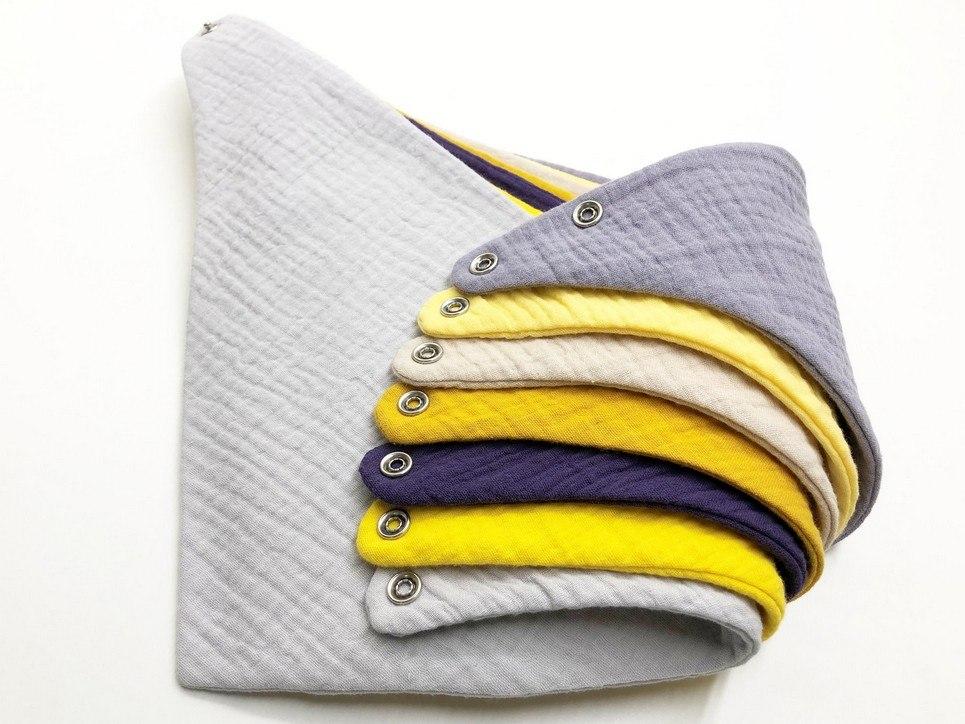 Set of 7 Purple and Yellow Baby Bandana Bibs