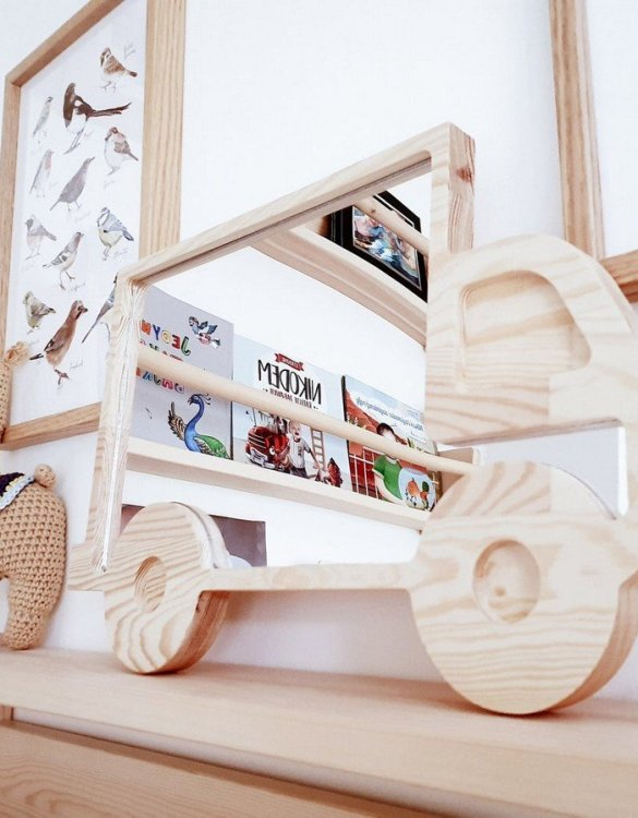 A modern design that will please you and your little one, the Solid Pinewood Mirror Car fits perfectly in the nursery or kids' room. Safe and unbreakable acrylic mirror made of high-quality solid pinewood.