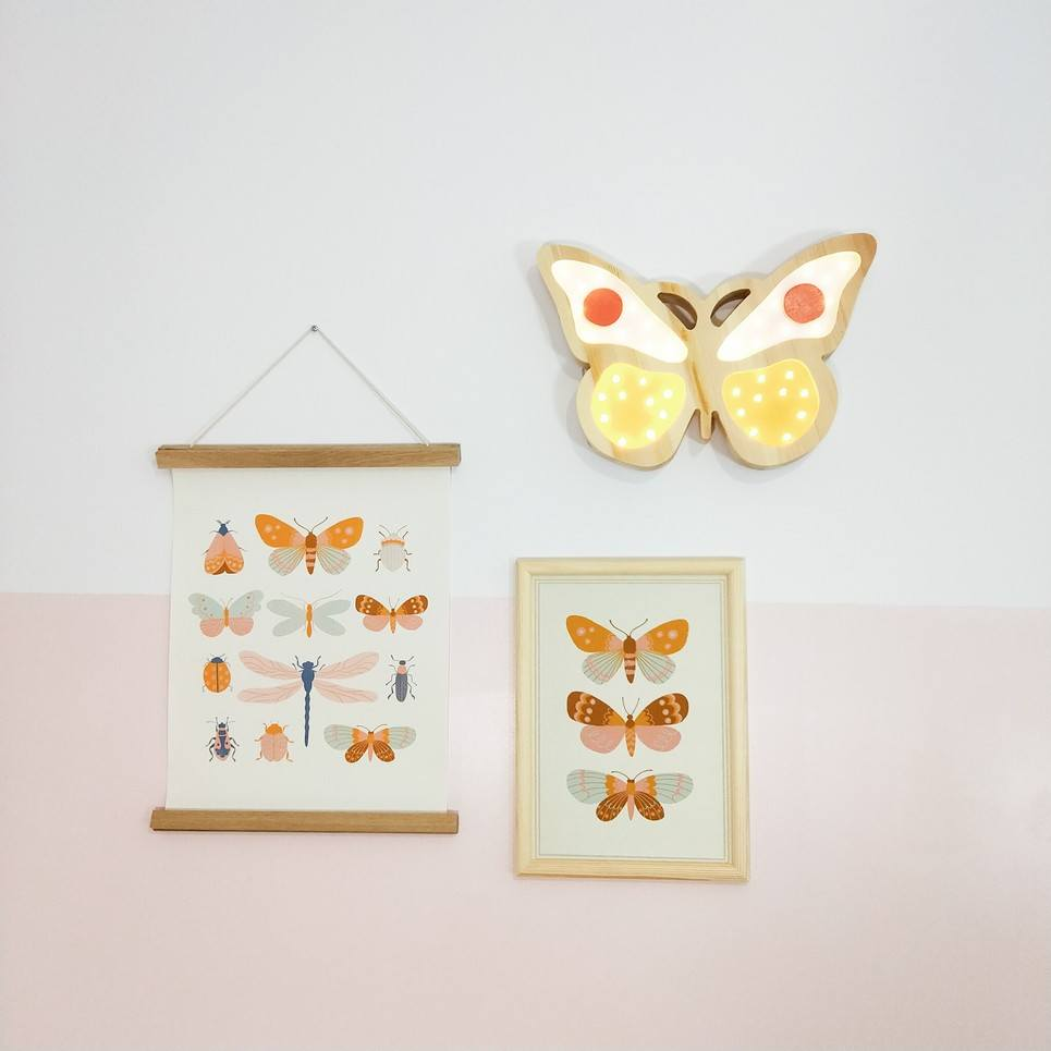 Yellow Wooden Butterfly Lamp