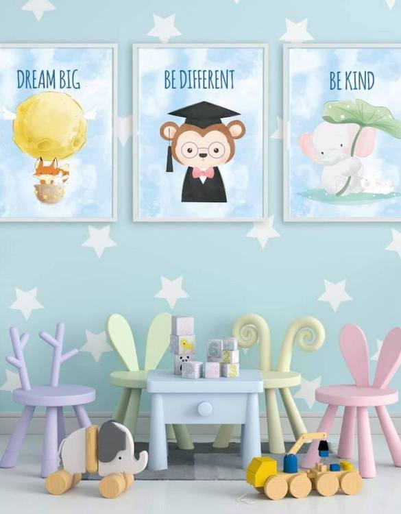 Perfect for a birthday or Christmas present, the Be Different Decorative Children Illustration Set is a really unique and eyecatching print that is loved by kids and adults. This print would make an ideal new baby gift or a very sweet birthday present for a baby or toddler.