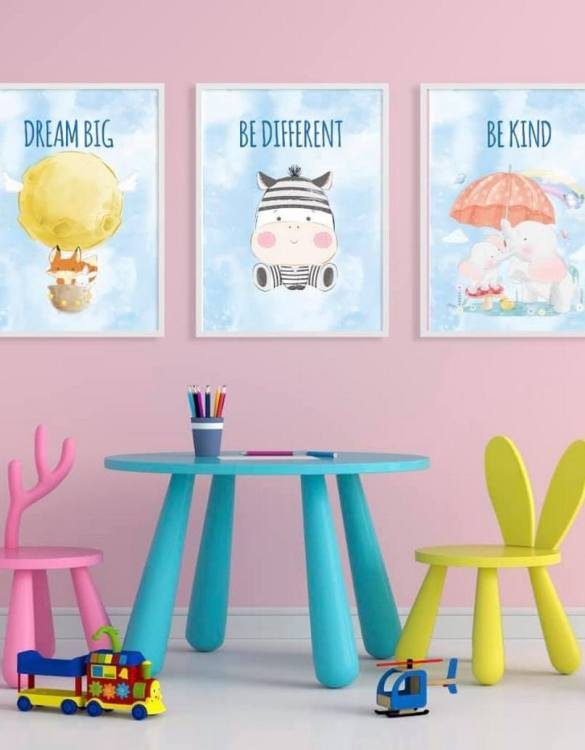 Perfect for a birthday or Christmas present, the Big Dreams Decorative Children Illustration Set is a really unique and eyecatching print that is loved by kids and adults. This print would make an ideal new baby gift or a very sweet birthday present for a baby or toddler.