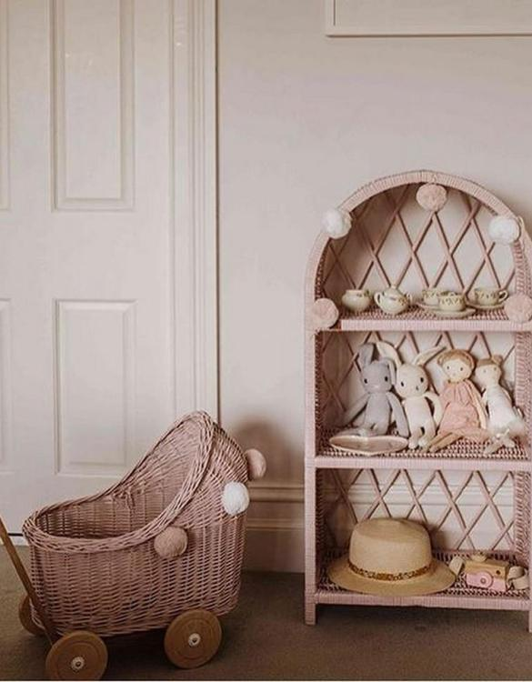 Completely handmade, with the greatest attention to detail, the Dirty Pink Maalum Wicker Bookshelf is perfect for decorating your nursery, toddlers' or teenagers' room. This gorgeous wicker bookcase is a beautiful spot for displaying all kinds of treasures!