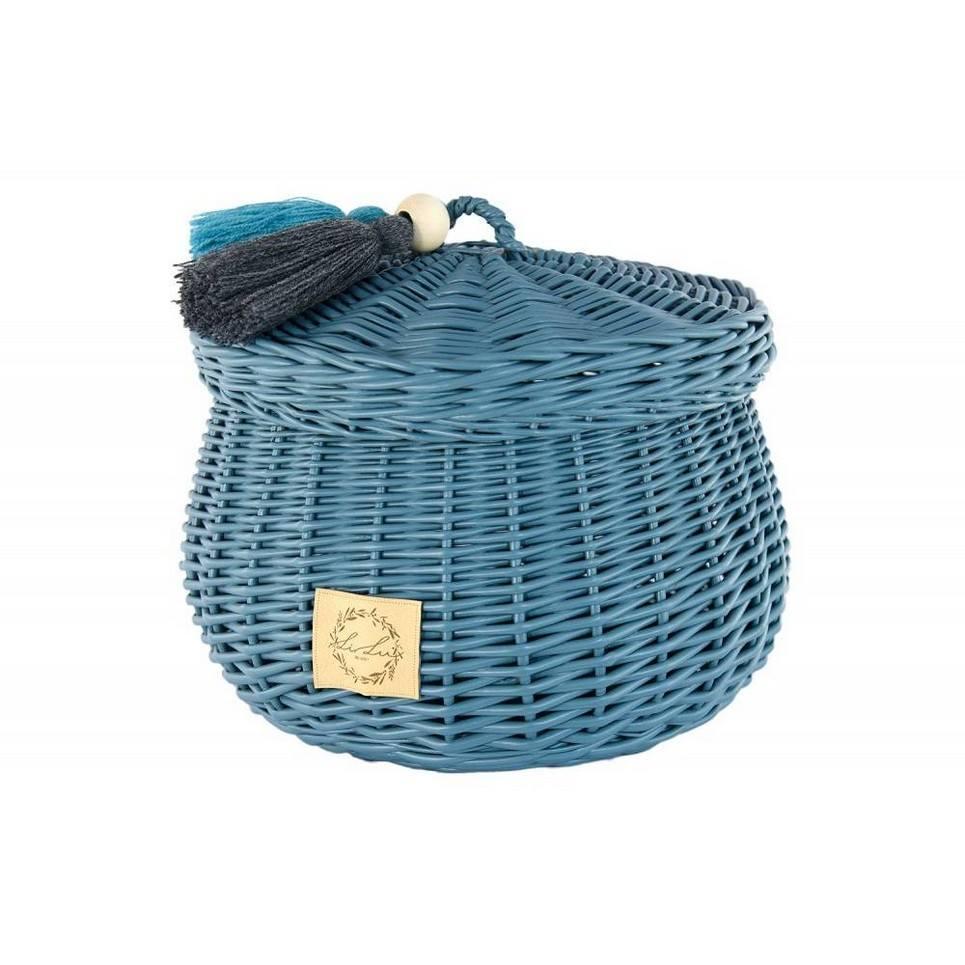 Dusty Blue Wicker Casket with Tassels