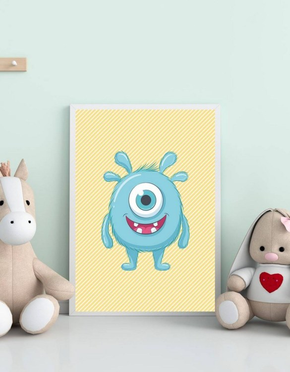 Perfect for a birthday or Christmas present, the Funny Monster Decorative Children Illustration is a really unique and eyecatching print that is loved by kids and adults. This print would make an ideal new baby gift or a very sweet birthday present for a baby or toddler.