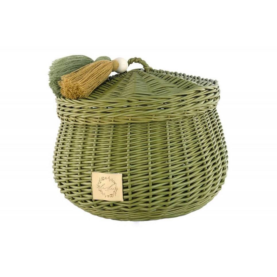 Khaki Wicker Casket with Tassels