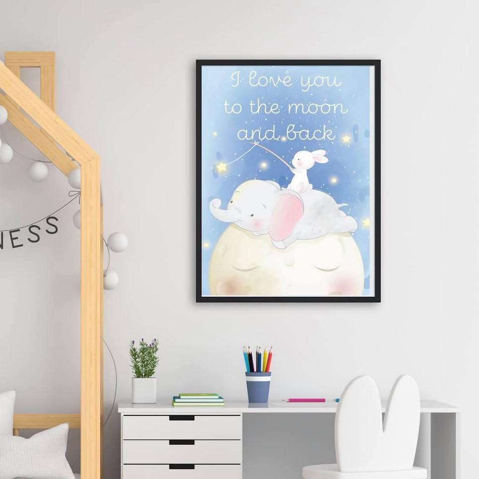 Moon and Stars Decorative Children Illustration
