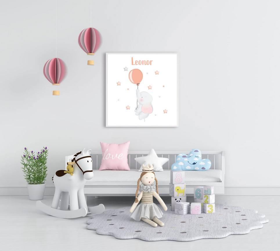 Personalised Name Baby Elephant Children Illustration