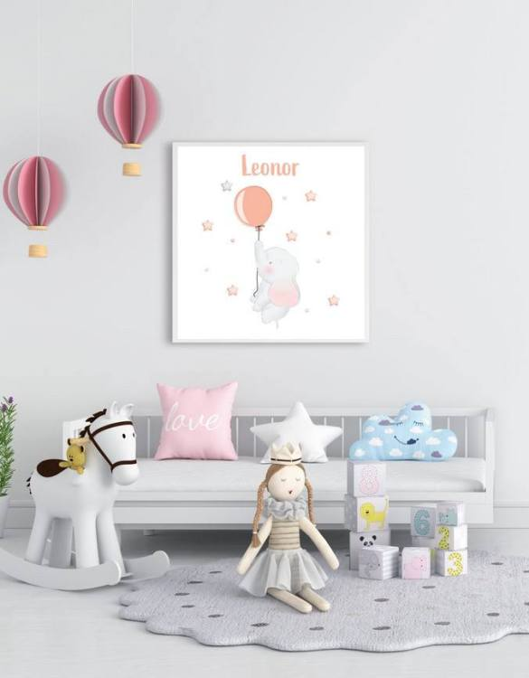 Perfect for a birthday or Christmas present, the Personalised Name Baby Elephant Children Illustration is a really unique and eyecatching print that is loved by kids and adults. This print would make an ideal new baby gift or a very sweet birthday present for a baby or toddler.