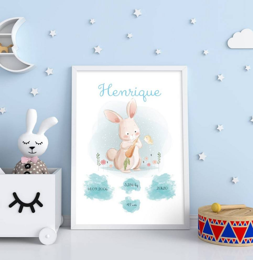 Personalised Name Bunny Baby Birth Print – 1