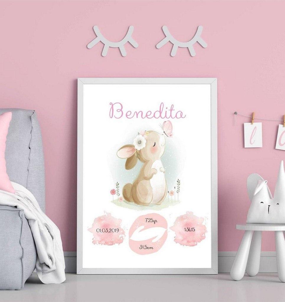 Personalised Name Bunny Baby Birth Print