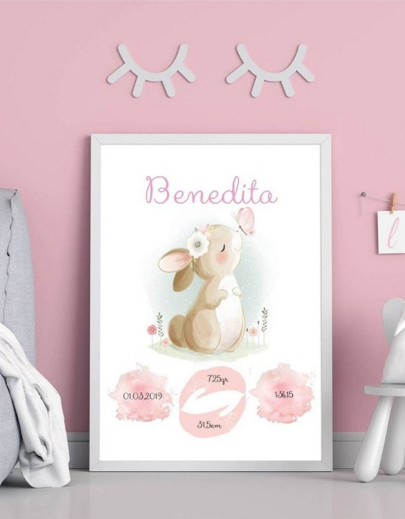 A wonderful momento of a child's birth, the Personalised Name Bunny Baby Birth Print is a beautiful nursery print with a newborn's birth statistics. This bright and fun personalised birth print will make a lovely addition to any nursery or bedroom wall.