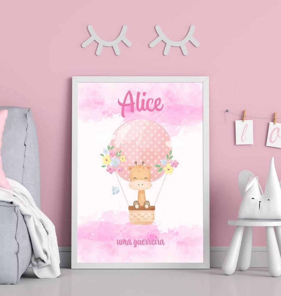 Personalised Name Giraffe and Hot Balloon Children Illustration