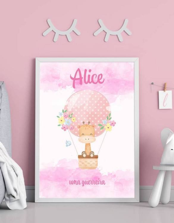 Perfect for a birthday or Christmas present, the Personalised Name Giraffe and Hot Balloon Children Illustration is a really unique and eyecatching print that is loved by kids and adults. This print would make an ideal new baby gift or a very sweet birthday present for a baby or toddler.