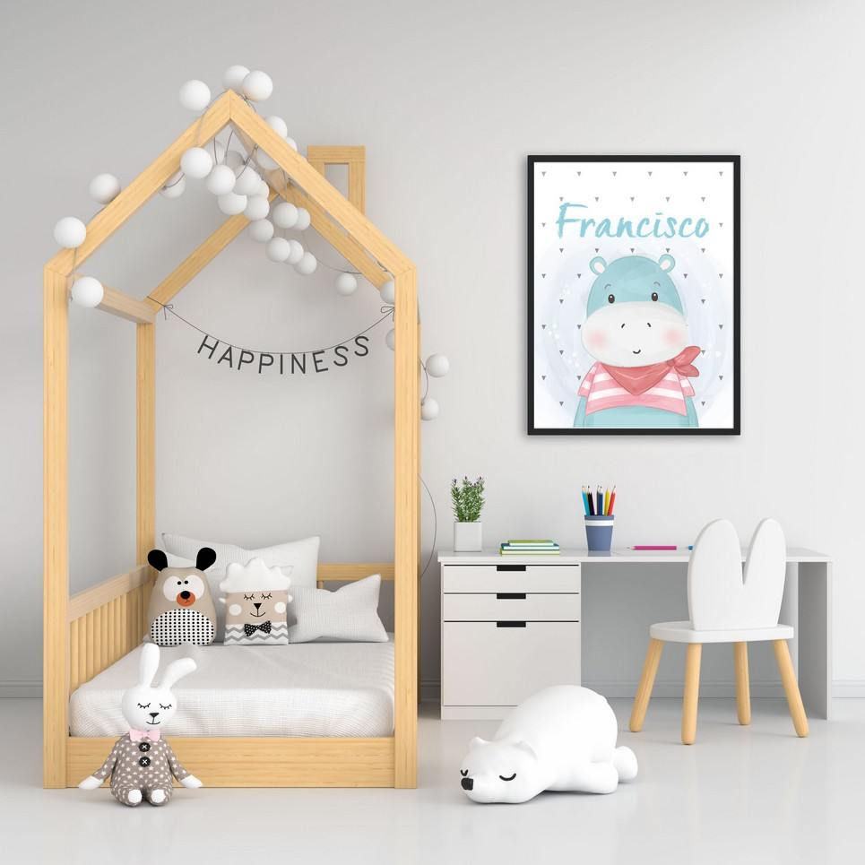 Personalised Name Hippo Children Illustration