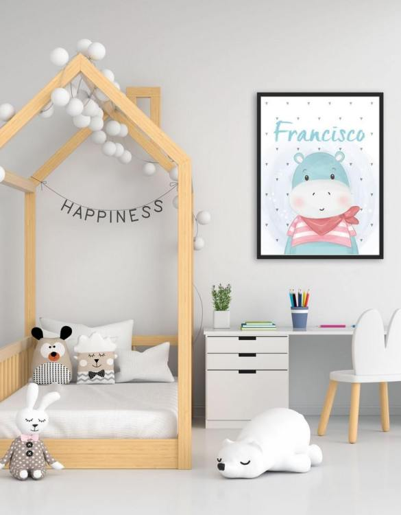 Perfect for a birthday or Christmas present, the Personalised Name Hippo Children Illustration is a really unique and eyecatching print that is loved by kids and adults. This print would make an ideal new baby gift or a very sweet birthday present for a baby or toddler.