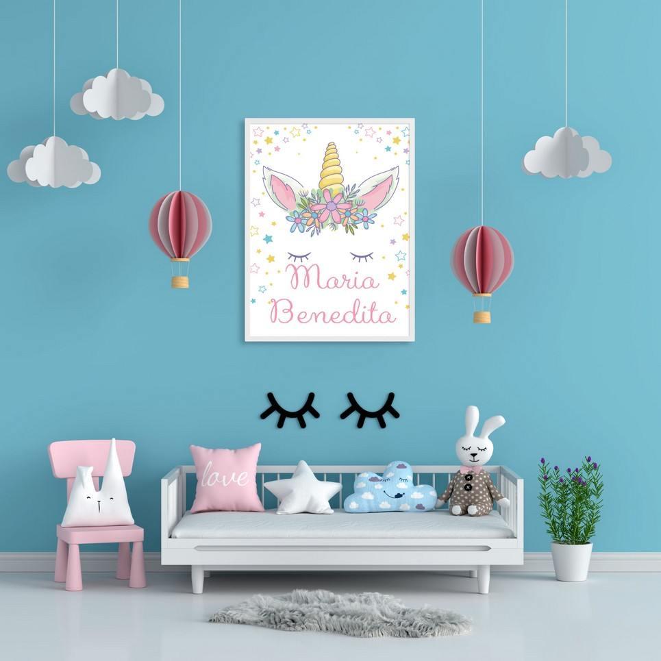 Personalised Name Magical Unicorn Children Illustration