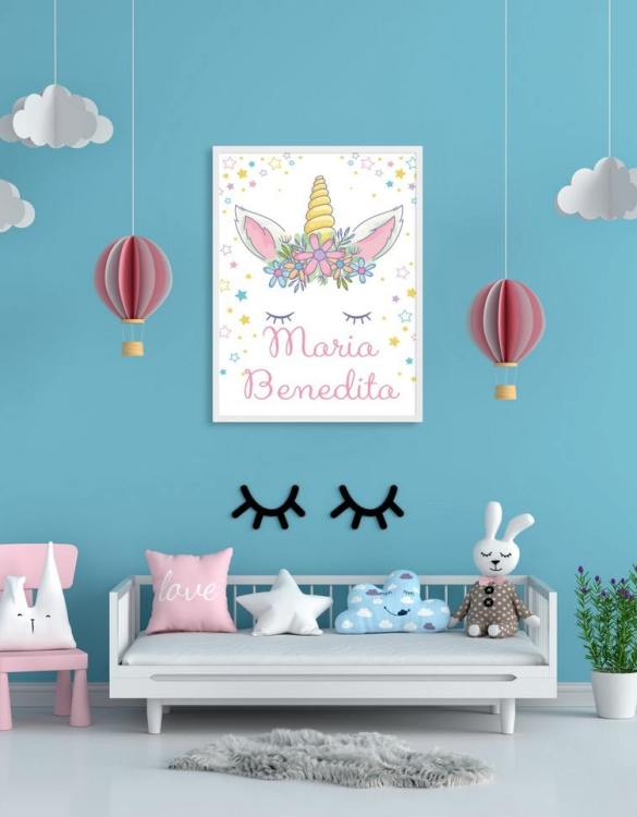 Perfect for a birthday or Christmas present, the Personalised Name Magical Unicorn Children Illustration is a really unique and eyecatching print that is loved by kids and adults. This print would make an ideal new baby gift or a very sweet birthday present for a baby or toddler.