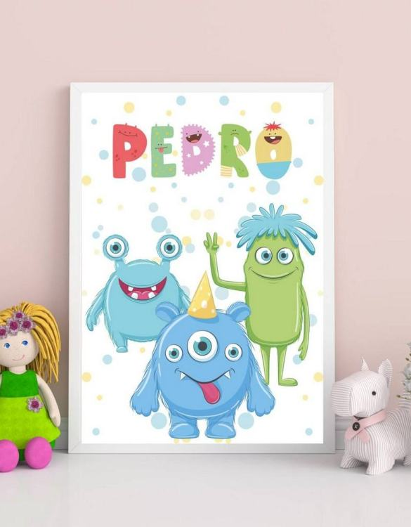 Perfect for a birthday or Christmas present, the Personalised Name Monsters Children Illustration is a really unique and eyecatching print that is loved by kids and adults. This print would make an ideal new baby gift or a very sweet birthday present for a baby or toddler.