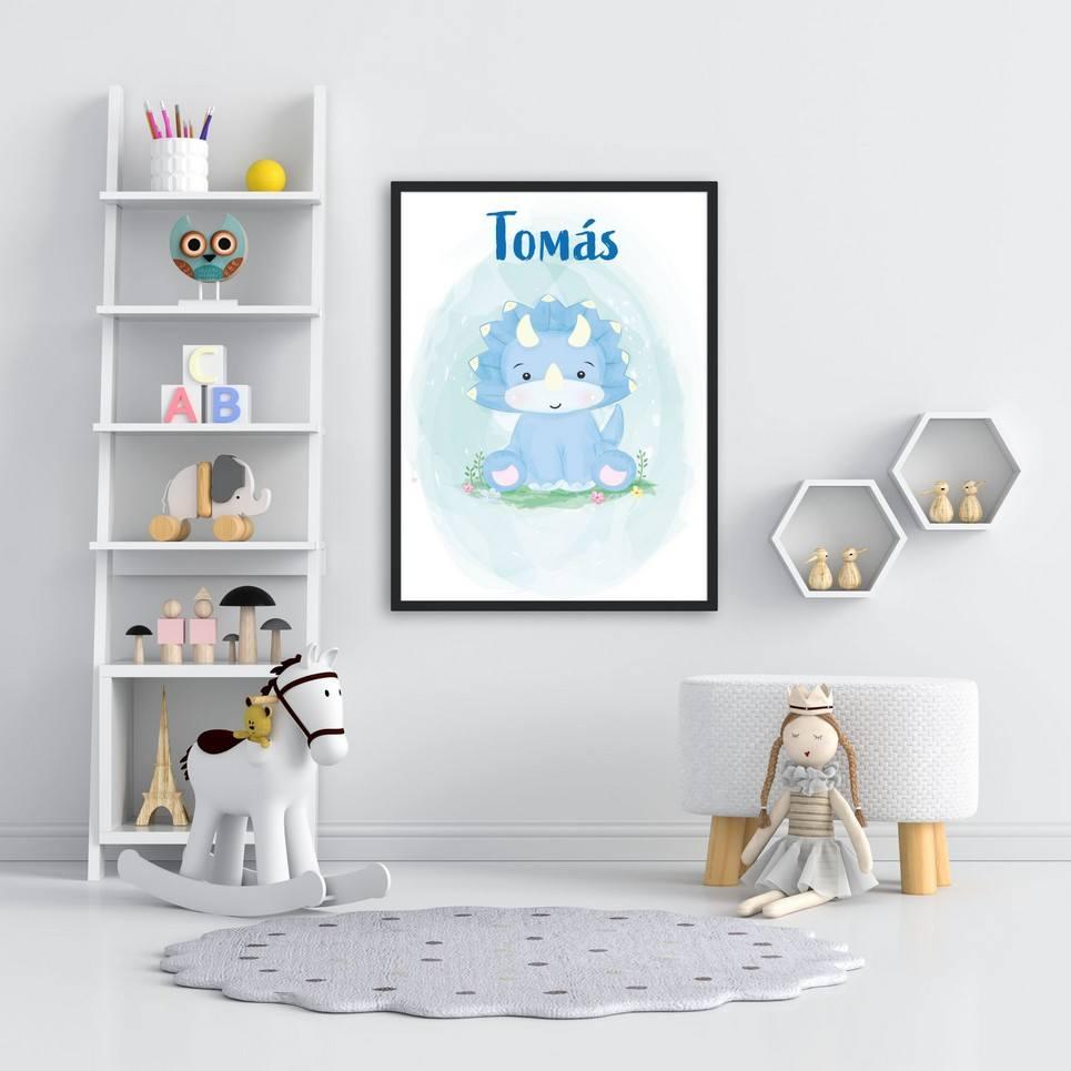 Personalised Name Rhino Children Illustration