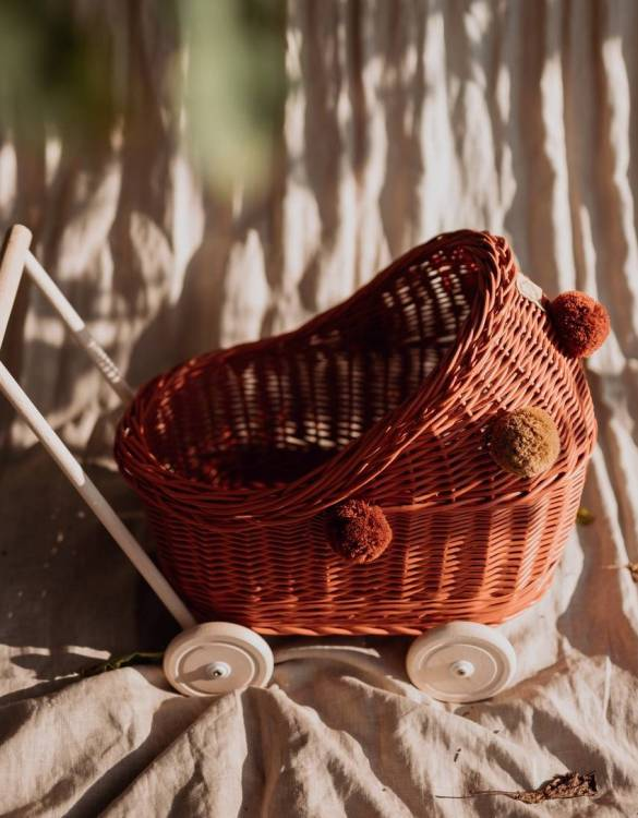 "Gorgeous wicker stroller for a doll, the Rowanberry Low Wicker Doll Pram will be a favourite toy in no time. Such stroller is a great fun for every little ""mom"" and at the same time a 100% stylish, ecological and Polish toy."