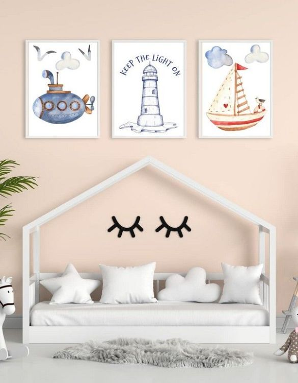 Perfect for a birthday or Christmas present, the Sea Decorative Children Illustration Set is a really unique and eyecatching print that is loved by kids and adults. This print would make an ideal new baby gift or a very sweet birthday present for a baby or toddler.