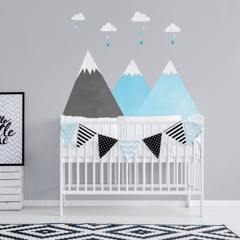 Blue Mountains and Clouds Children's Wall Sticker
