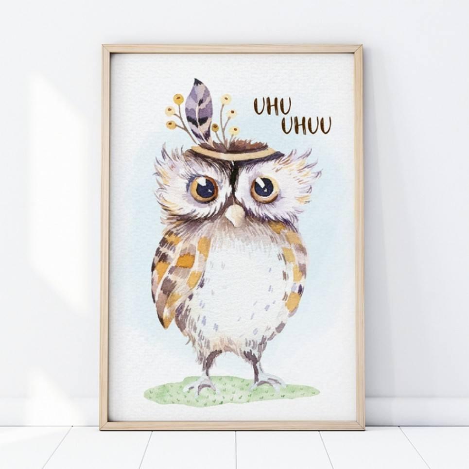 Boho Owl Children's Poster