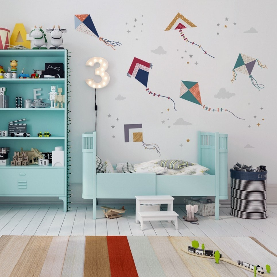 Colourful Kite Flying Children's Wall Sticker