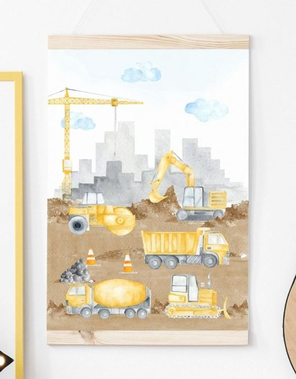 A unique keepsake that will create enchanting memories, the Construction Children's Poster is a really unique and eyecatching print that is loved by kids and adults. Encourage their wild side with this fun print. Designed in a playful font, they will make a great addition to any nursery, child's room, or playroom.