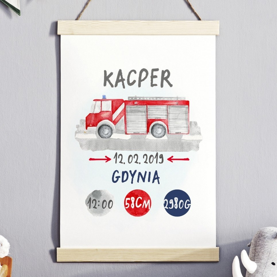 Personalised Fire Truck Baby Birth Print