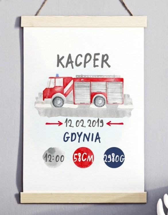 Perfect for a new baby or christening gift, the Personalised Fire Truck Baby Birth Print features the details of a new baby's birth, the perfect present for a new baby.