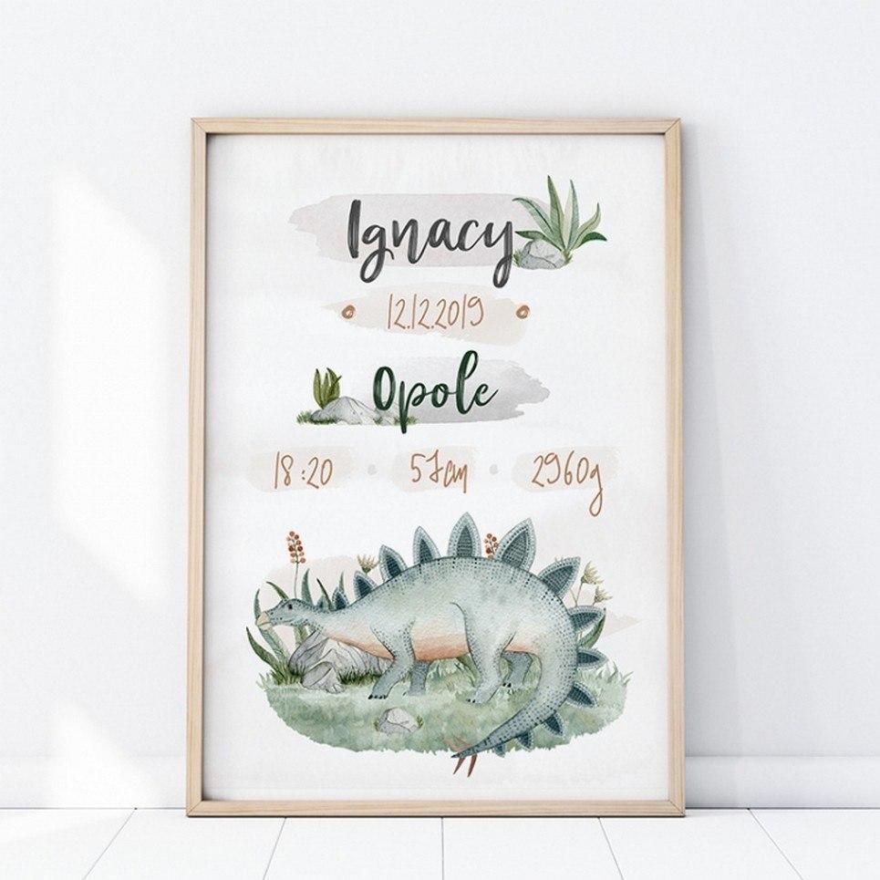 Personalised Stegozaur Baby Birth Print
