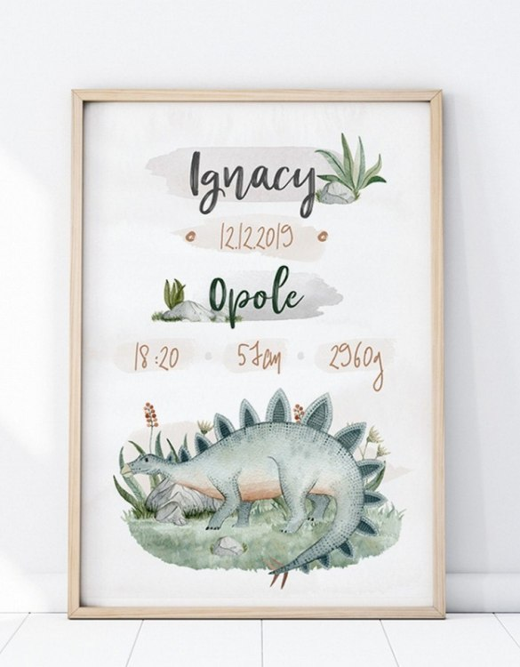 Perfect for a new baby or christening gift, the Personalised Stegozaur Baby Birth Print features the details of a new baby's birth, the perfect present for a new baby.