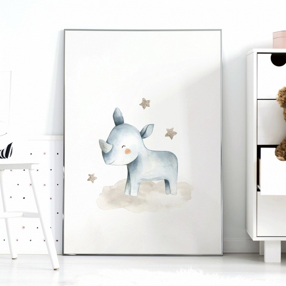 Rhino and Stars Children's Poster