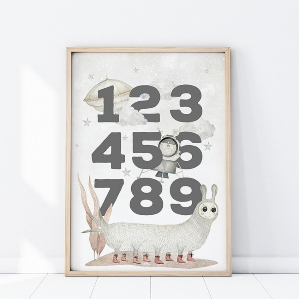 Space Numbers Children's Poster