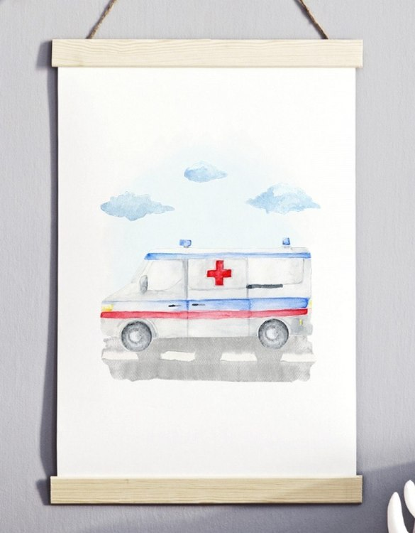 A unique keepsake that will create enchanting memories, the Ambulance Children's Poster is a really unique and eyecatching print that is loved by kids and adults. Encourage their wild side with this fun print. Designed in a playful font, they will make a great addition to any nursery, child's room, or playroom.