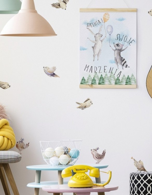 A beautiful scene for children's rooms and nurseries, the Birds Children's Wall Sticker is the perfect addition to any empty space (like walls or furniture). These wall stickers provide a flexible and cost-effective way to decorate your home.