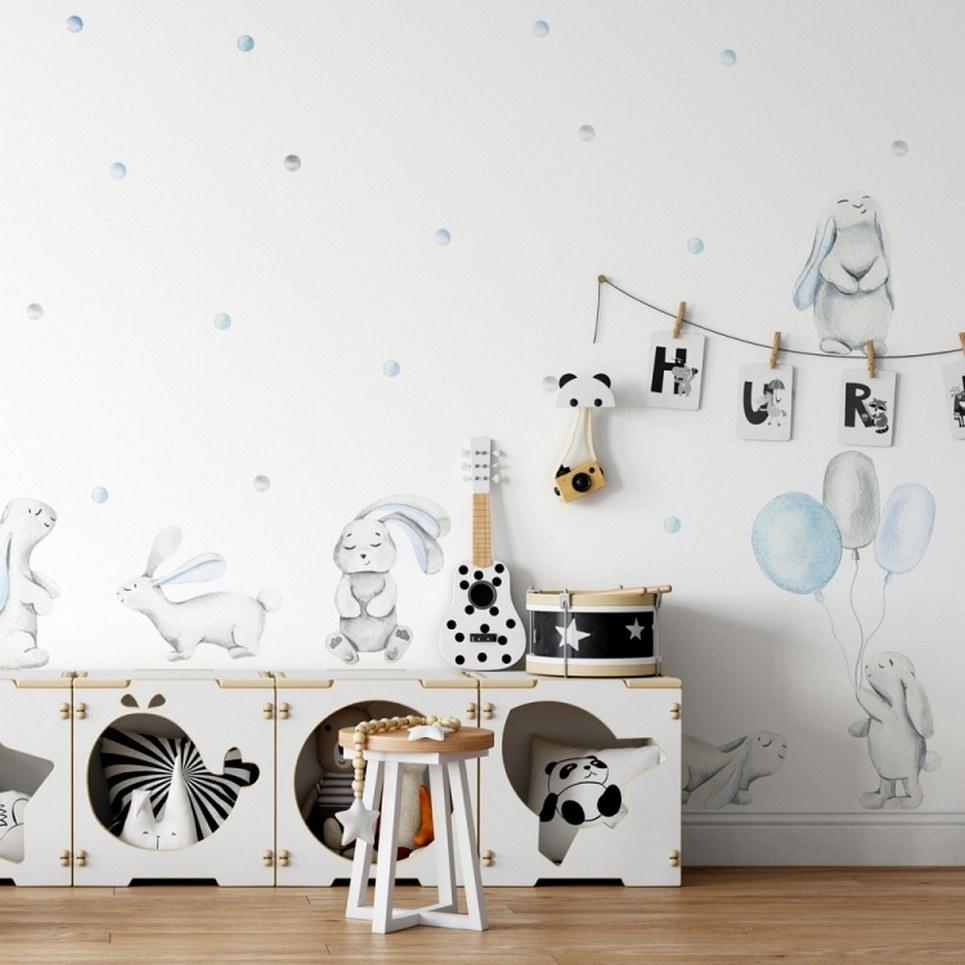 Blue Pastel Rabbits Children's Wall Sticker