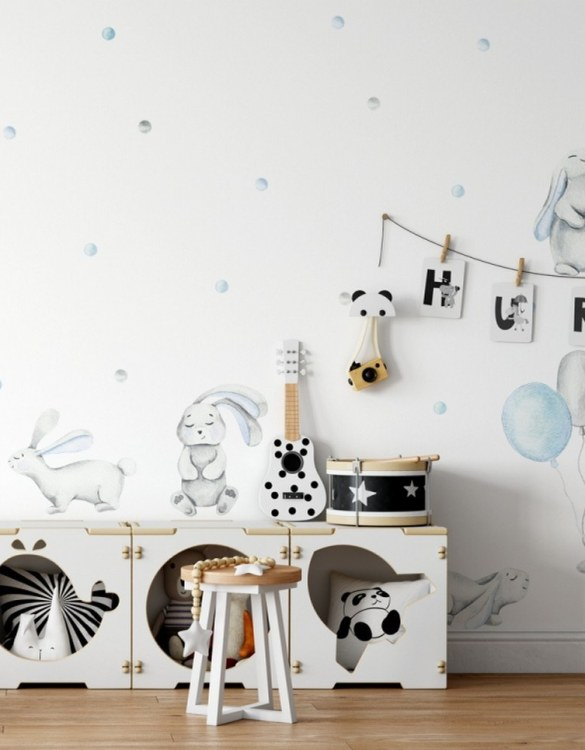 A beautiful scene for children's rooms and nurseries, the Blue Pastel Rabbits Children's Wall Sticker is the perfect addition to any empty space (like walls or furniture). These wall stickers provide a flexible and cost-effective way to decorate your home.