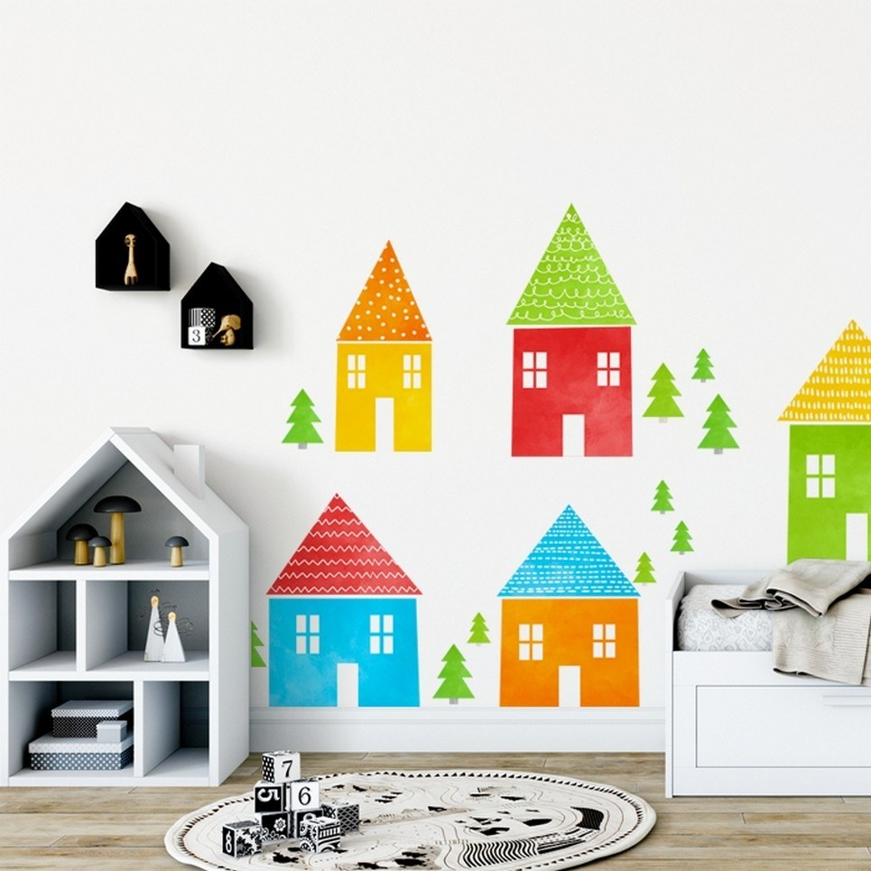 Colored Houses Children's Wall Sticker