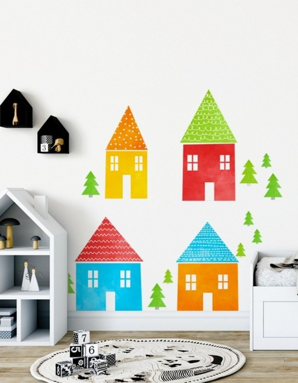 A beautiful scene for children's rooms and nurseries, the Colored Houses Children's Wall Sticker is the perfect addition to any empty space (like walls or furniture). These wall stickers provide a flexible and cost-effective way to decorate your home.