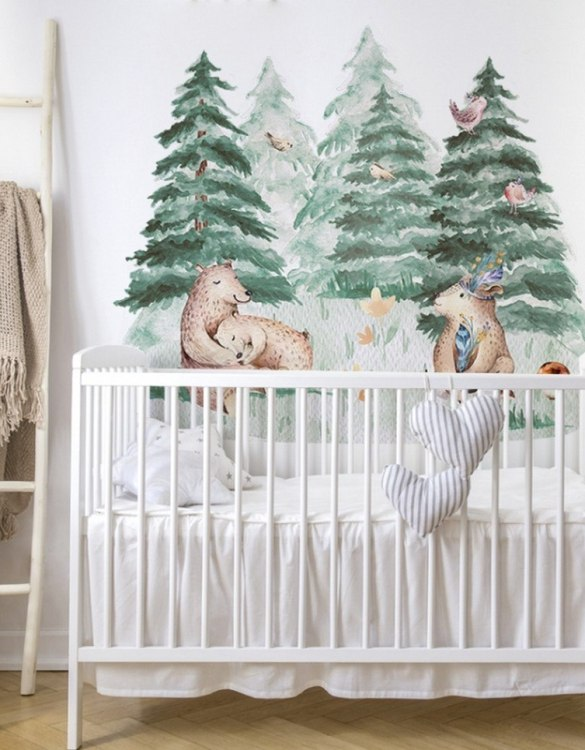 A beautiful scene for children's rooms and nurseries, the Cute Bear Forest Children's Wall Sticker is the perfect addition to any empty space (like walls or furniture). These wall stickers provide a flexible and cost-effective way to decorate your home.
