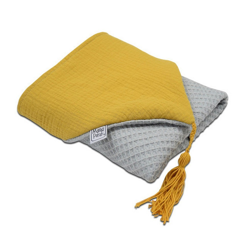 Hooded Towel Gray & Mustard