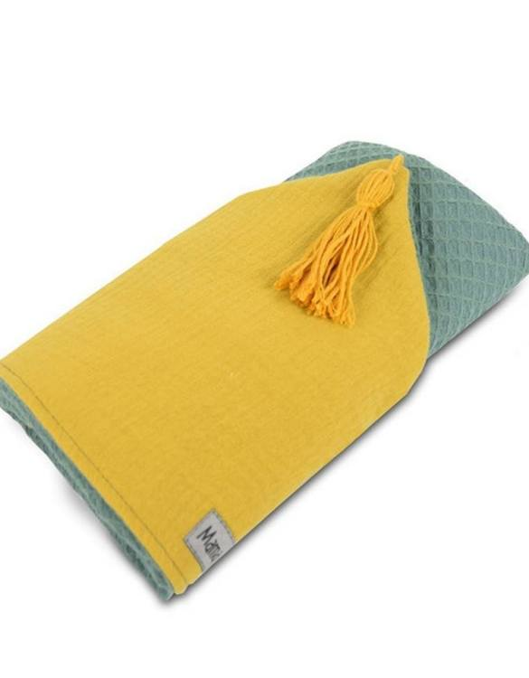 Great for gifting, the Hooded Towel Sage Green & Mustard is made from a beautiful 100% cotton terrycloth to make an absorbent yet lightweight fabric. A soft infant hooded towel with a charming muslin hood.