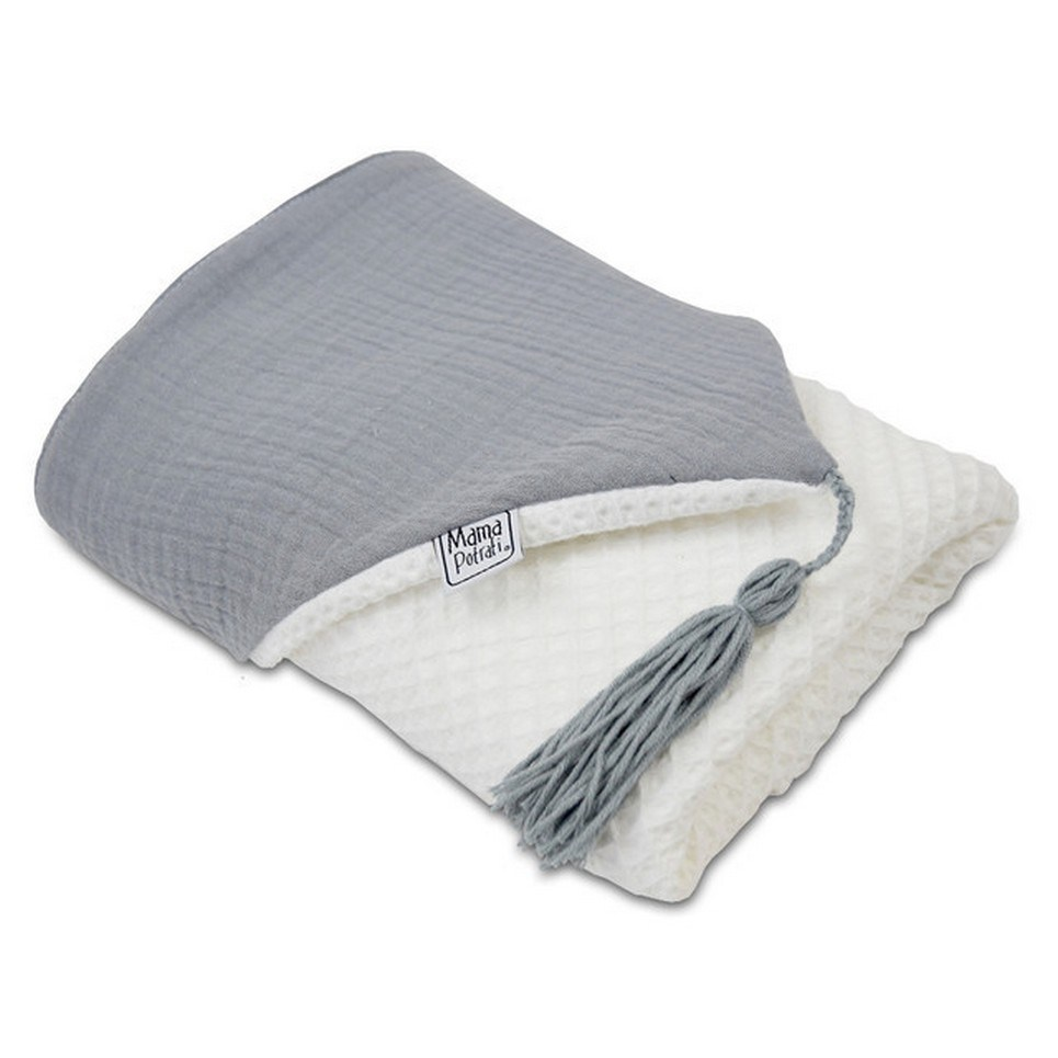 Hooded Towel White & Gray