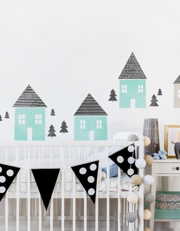 A beautiful scene for children's rooms and nurseries, the Mint Houses Children's Wall Sticker is the perfect addition to any empty space (like walls or furniture). These wall stickers provide a flexible and cost-effective way to decorate your home.