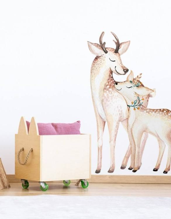 A beautiful scene for children's rooms and nurseries, the Mom and Baby Deer Children's Wall Sticker is the perfect addition to any empty space (like walls or furniture). These wall stickers provide a flexible and cost-effective way to decorate your home.