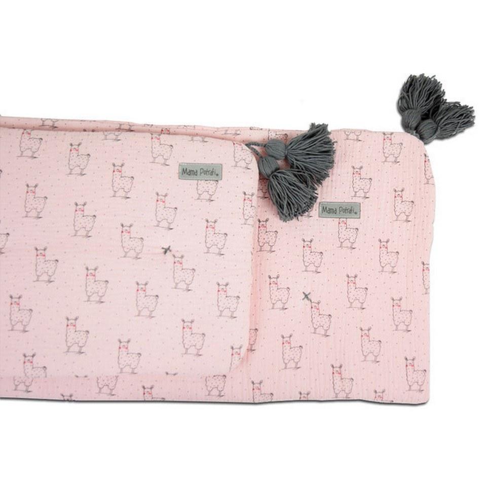Muslin Newborn Bedding Filled Pink Llama